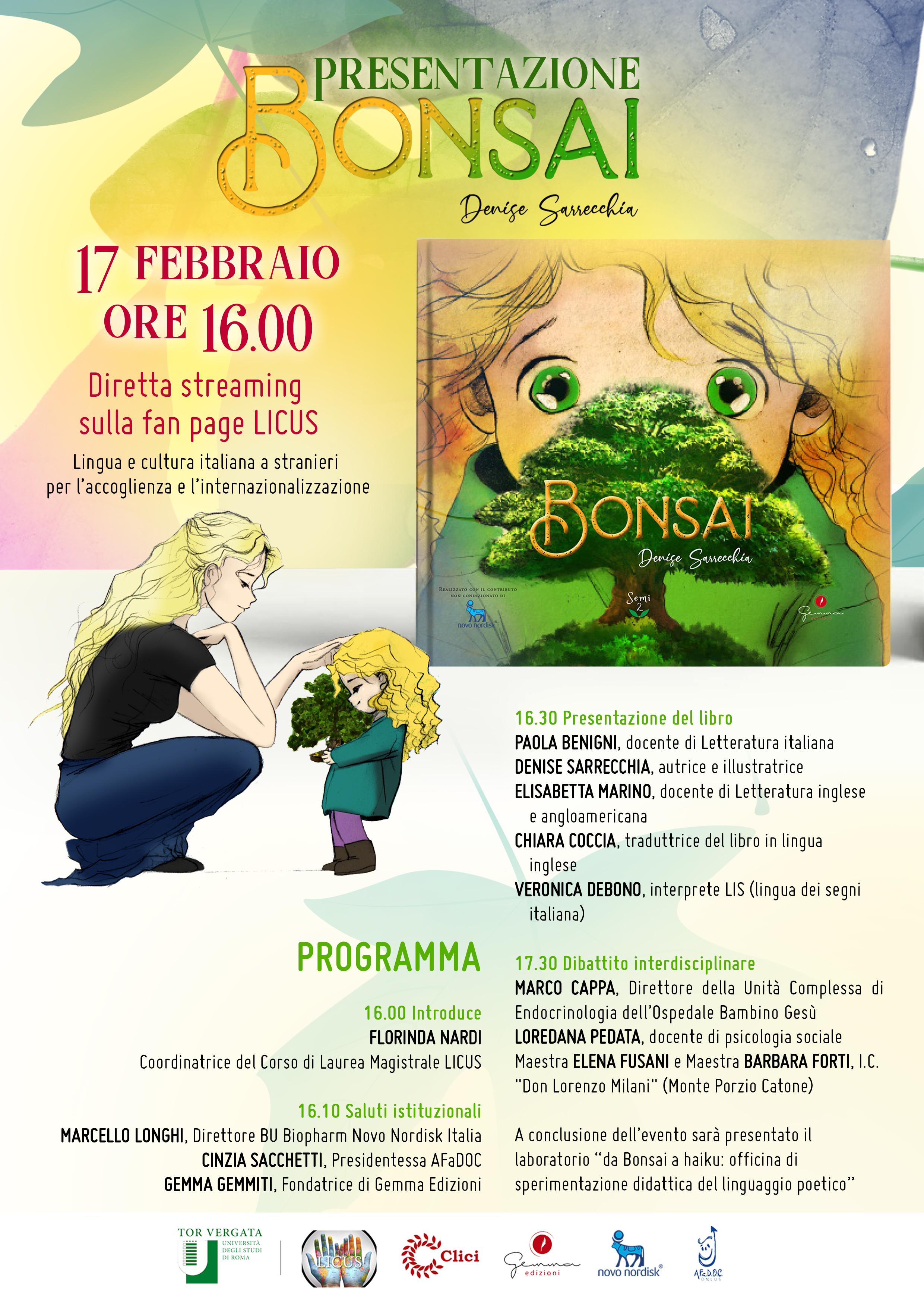 """Presentazione del libro """"Bonsai"""" 17 febbraio ore 16.00 Diretta streaming sulla fan page LICUS"""